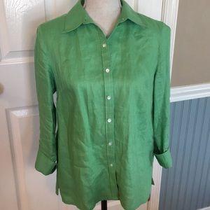 Women's Talbots green linen blouse, size 10